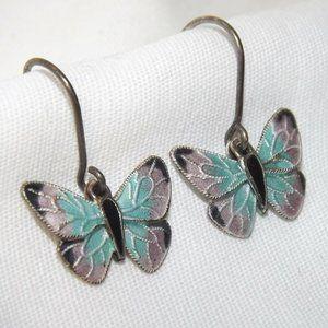 Vintage Sterling Silver Enamel Butterfly Earrings